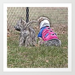 Waiting with a friend for a fence run Art Print