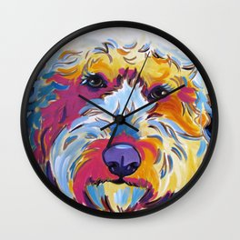 Goldendoodle or Labradoodle Pop Art Dog Portrait Wall Clock