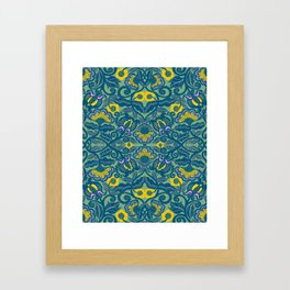 Blue Vines and Folk Art Flowers Pattern Framed Art Print