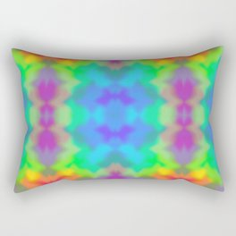 Rainbow Multicolored Watercolor Abstract Tie Dye Rectangular Pillow