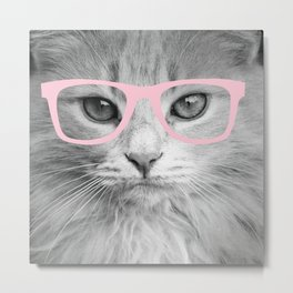 Hippest Cat 2 - Pink glasses Metal Print