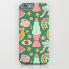 Retro Vibes in Green  iPhone Case