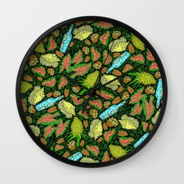 Tropical Neon Pattern: Message in a Bottle Wall Clock