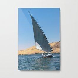 Felucca sailing along the Nile River - Egypt Metal Print