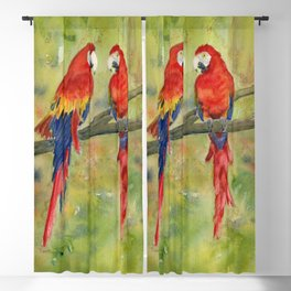 Scarlet Macaw Parrots Blackout Curtain