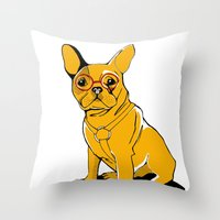 frenchie Throw Pillows featuring Frenchie by andiroses
