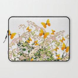 WHITE ART GARDEN ART OF YELLOW BUTTERFLIES Laptop Sleeve
