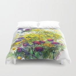Watercolor meadow flowers Duvet Cover