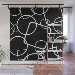 Black and white minimalist geometric abstract Wall Mural