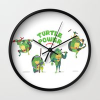 ninja turtle Wall Clocks featuring Ninja Turtles Turtle Power by MrMaars