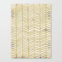 geometric Canvas Prints featuring Gold Herringbone by Cat Coquillette