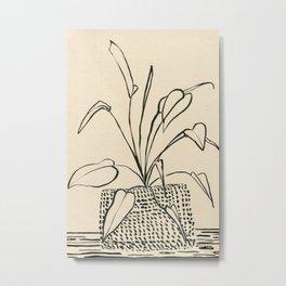 Line drawing leaves Metal Print