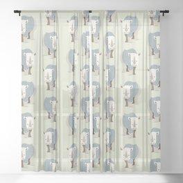 Whimsical Rhinoceros Sheer Curtain