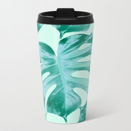 Tropical Monstera Leaves Dream #4 #tropical #decor #art #society6 Metal Travel Mug
