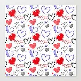 Draw hearts Canvas Print
