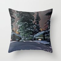 finland Throw Pillows featuring Winter in Lapland Finland  by Guna Andersone & Mario Raats - G&M Studi