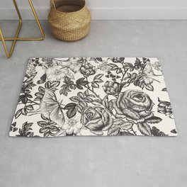 Elegant floral vector vintage pattern with roses, flowers and butterflies Rug