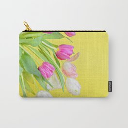 View to the easter tulips over yellow paper Carry-All Pouch