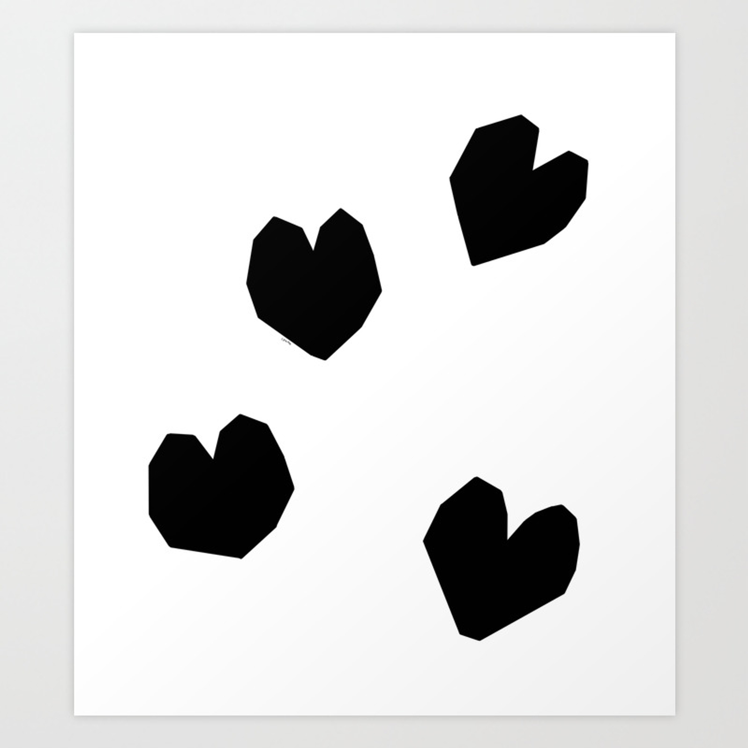 Love yourself no 2 black heart pattern love art black and white illustration art print by blackandwhitebylennaarty society6