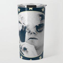 Cigar Smoker Cigar Lover JFK Gifts Black And White Photo Travel Mug