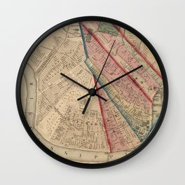 Vintage Map of New Orleans LA (1861) Wall Clock