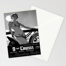 retro noir et blanc 9 day cruises Stationery Cards