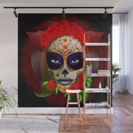 Skull Girl Dia de los Muertos Portrait Wall Mural