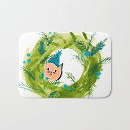 Kitty Christmas Wreath - Holiday Watercolor Bath Mat