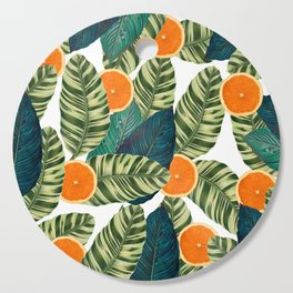 Oranges And Green Leaves Pop Cutting Board