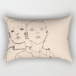 Egon Schiele - Three street boys Rectangular Pillow