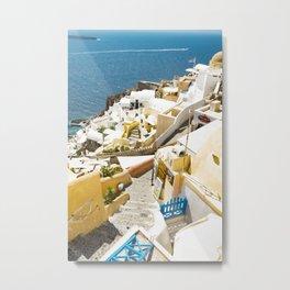 Santorini City Metal Print