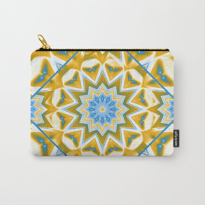 Wheel cover kaleidoscope in blue and gold Carry-All Pouch