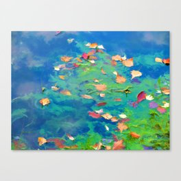 Autumn leaves on water 3 Canvas Print