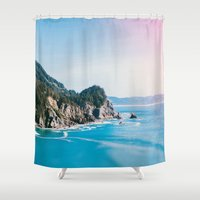 millenium falcon Shower Curtains featuring Cape Falcon by Leah Flores