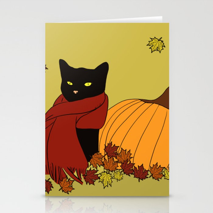 Cascade The Black Cat In Red Scarf With Pumpkin - Fall Stationery Cards