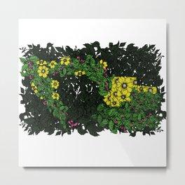 Flowers Excavator Metal Print