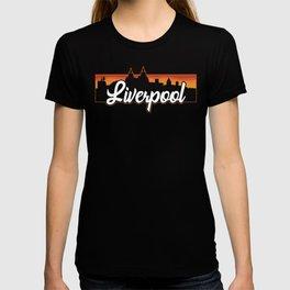 Retro Liverpool England Sunset Skyline T-shirt
