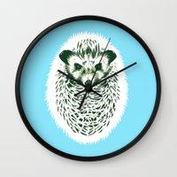 hedgehog Wall Clocks featuring hedgehog by barmalisiRTB