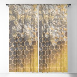 Honeycomb with bees Sheer Curtain