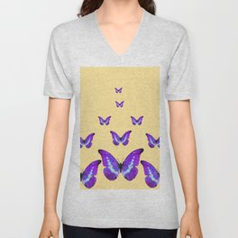 AMETHYST PURPLE BUTTERFLIES FLOCK CREAMY YELLOW Unisex V-Neck