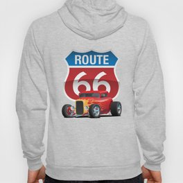 Route 66 Sign with Classic American Red Hotrod Hoody