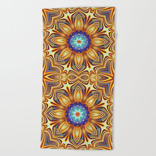 Kaleidoscope abstract with a flower shape and tribal patterns Beach Towel