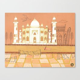 Agra Taj Mahal - Postcard From India Canvas Print