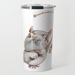 A hippopotamus fishing Travel Mug
