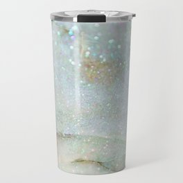 Elegant Aqua Marble with Flecks of Diamond Glitter Travel Mug