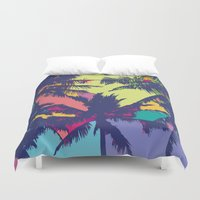 palm tree Duvet Covers featuring Palm tree by PINT GRAPHICS