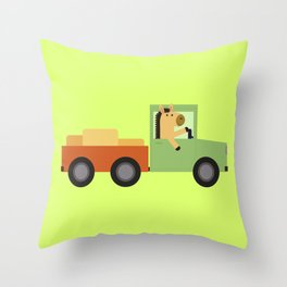 Horse on Truck Throw Pillow