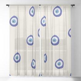 Eye'm Watching You- Blue Evil Eyes Sheer Curtain