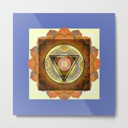 Eye of Peace Vintage Ink Boho Mandala Metal Print