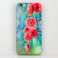 poppies iPhone & iPod Skins featuring Poppies by LudaNayvelt